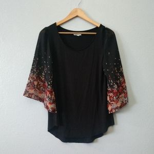 Maurices Black Floral Sheer Bell Sleeve Blouse Top